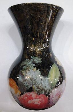 Vaso vetro fondo nero for Decoupage su vaso di vetro