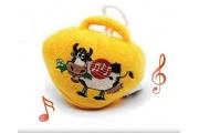 Campana mucca ricamata con musica