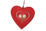 Ciondolo cuore rosso con stelle alpine